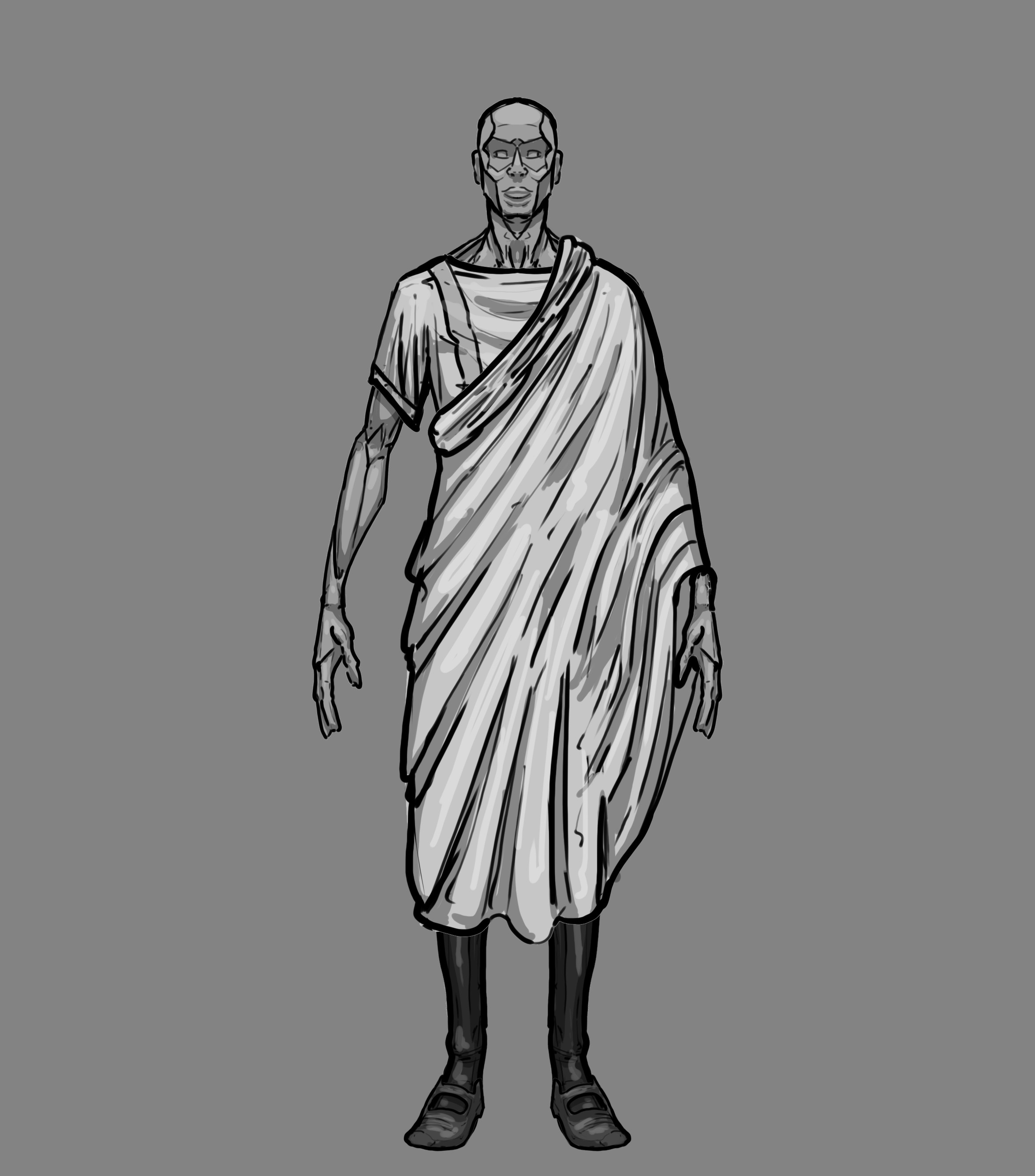 Early design of the character Magister Decorum.