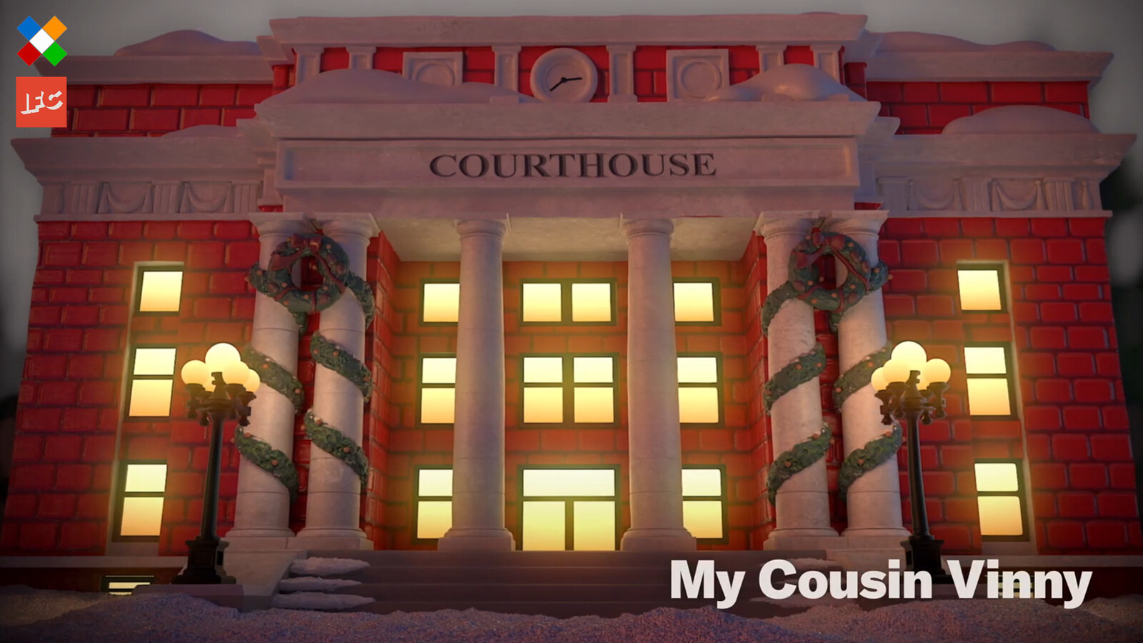 Courthouse final look in the spot. Responsible for Courthouse model and textures, minus the wreaths around it.