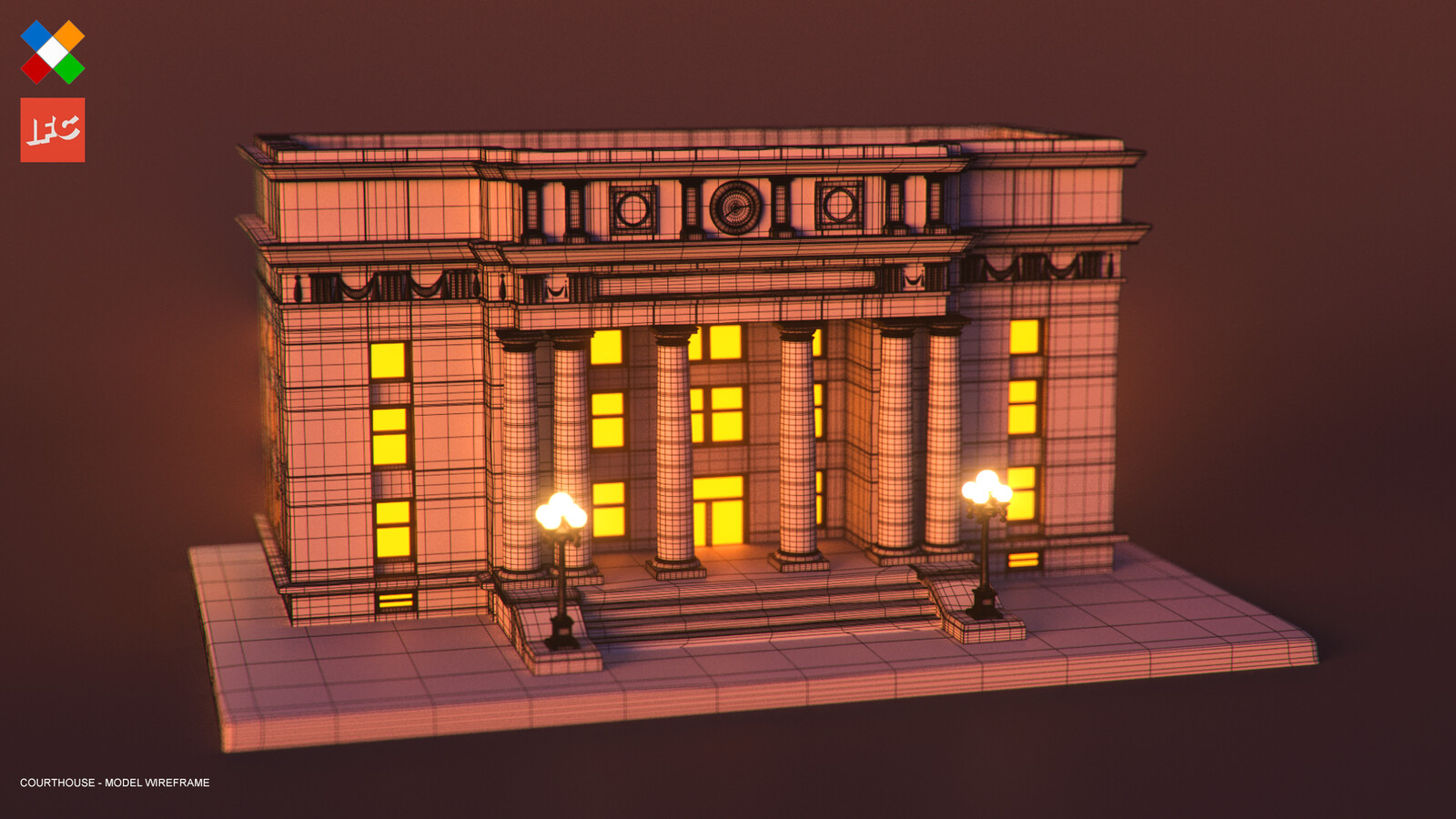 Courthouse Wireframe Render