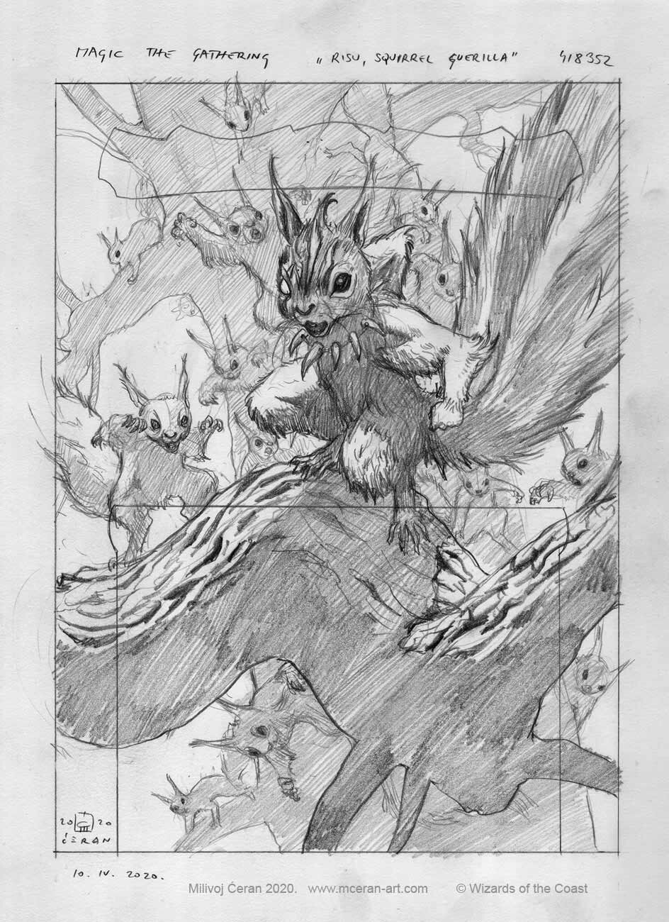 """""""Chatterfang, Squirrel General"""" sketch, Milivoj Ćeran 2020. - a-4, size 21 x 29,7 cm (cca 12x8 inches) - pencil on paper - © Wizards of the Coast - AD Cynthia Sheppard - """"Modern Horizons 2"""" set - Legendary Creature, Mythic card"""