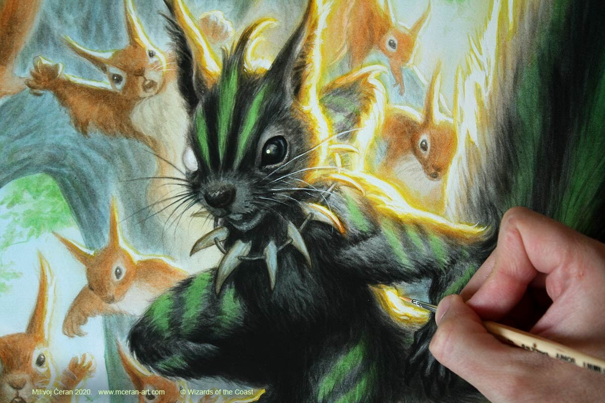"""""""Chatterfang, Squirrel General"""" painting details, 2020"""