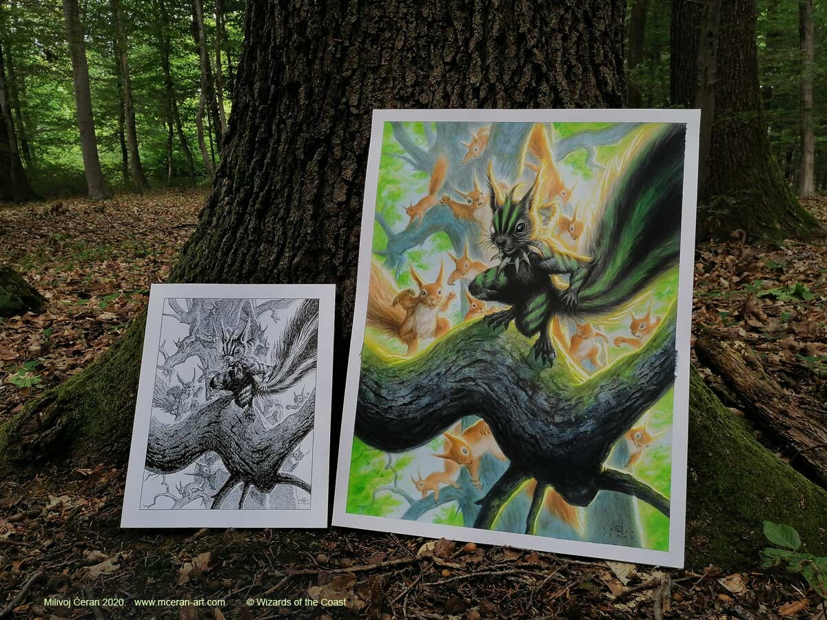 """""""Chatterfang, Squirrel General"""" free in the wood artwork and b/w ink drawing for scale"""