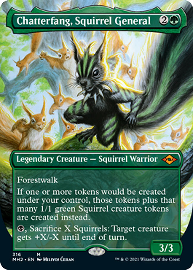 """- """"Chatterfang, Squirrel General"""" - released card - AD Cynthia Sheppard - Magic the Gathering, """"Modern Horizons 2"""", release June 2021 - Legendary Creature, Mythic card"""