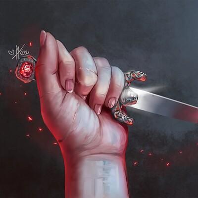 Magical kaleidoscope hand and dagger
