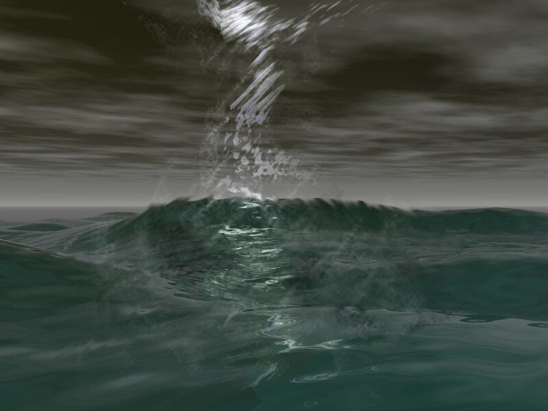 Bad Sea Day (I was really proud of this one. I think I used Truespace to model an hourglass shape and then gave it a glass material to make the wind cyclone, and then used Paintshop Pro to tweak the waves to make them look wind-blown.)