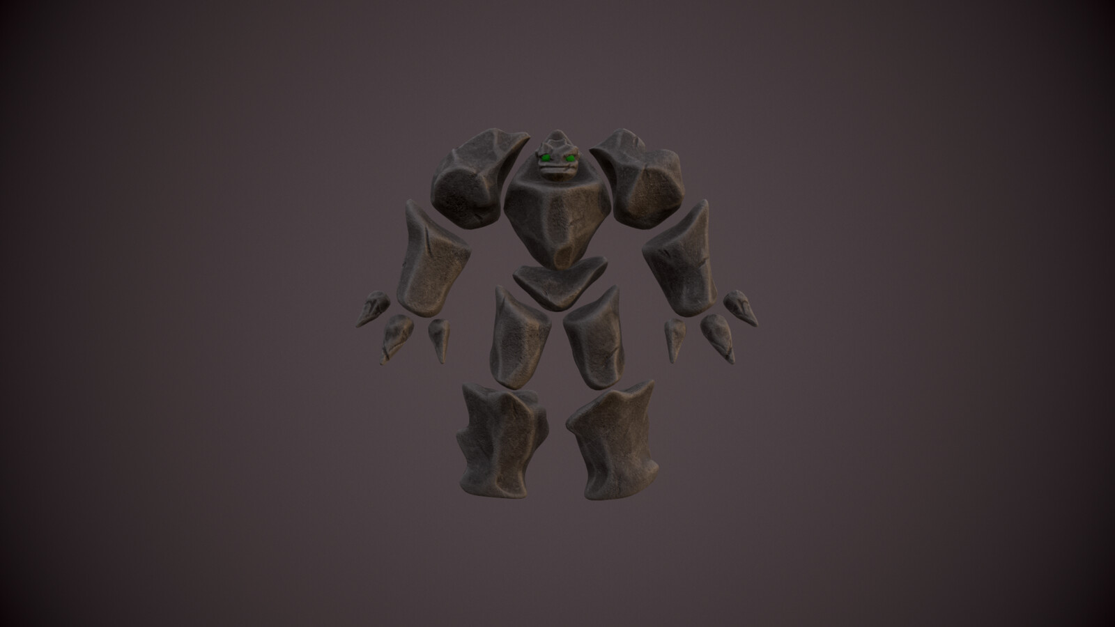 Original earth elemental enemy front view. We decided to make the game feel more cartoony, so ended up going a different route with this enemy.