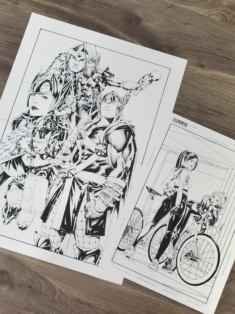 Thor and Silk original art size comparison. Thor (16x23) and Silk (11x17)