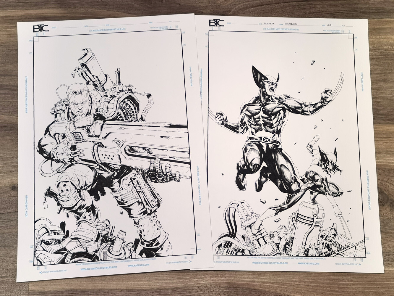 Original art isnt connected, as Cable was done as a standalone piece at first.
