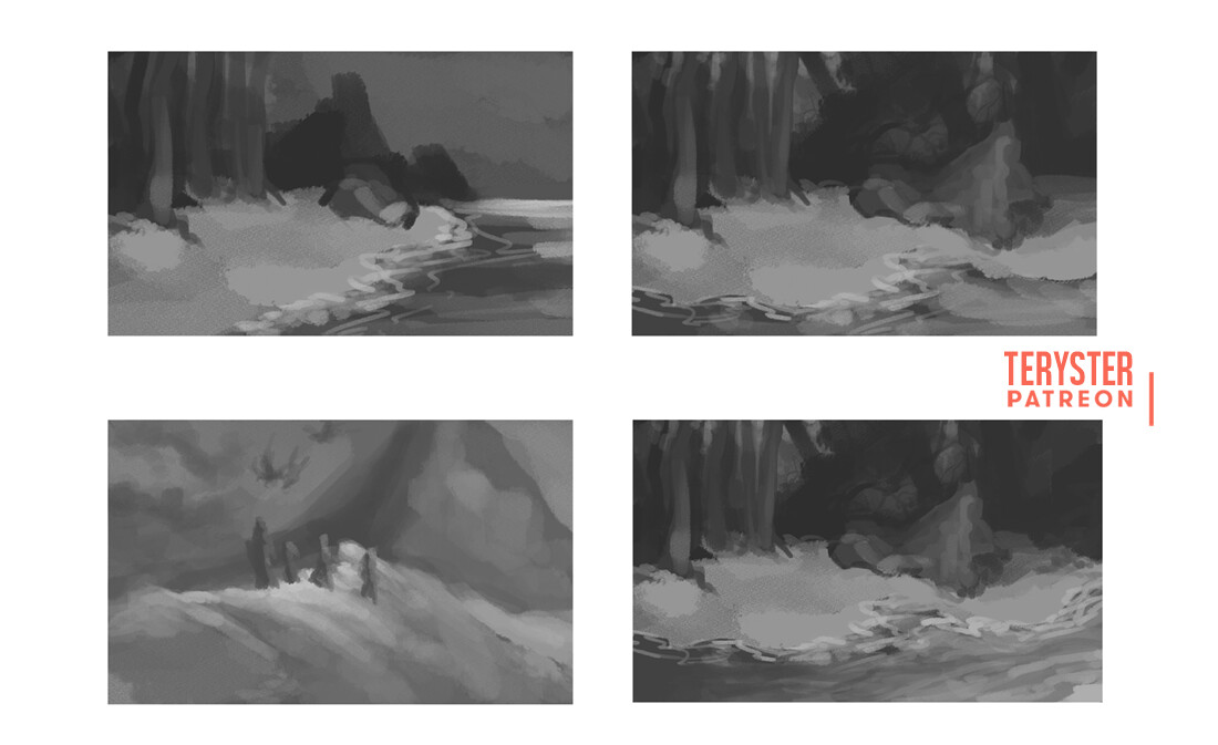 Scene thumbnails for our group artwork, including lake Celestine and the Frostback mountains.