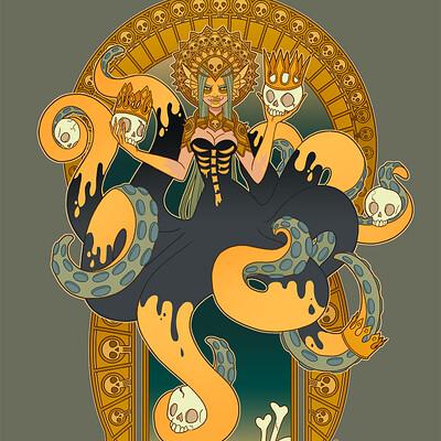 Jessica madorran patreon may 2021 illustration evil mermaid goddess artstation