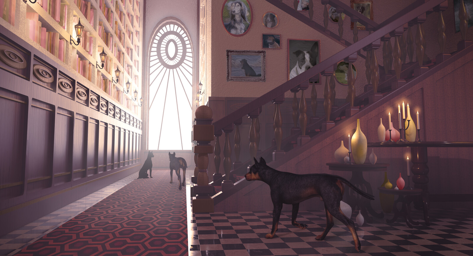 Victorian interior with dogs