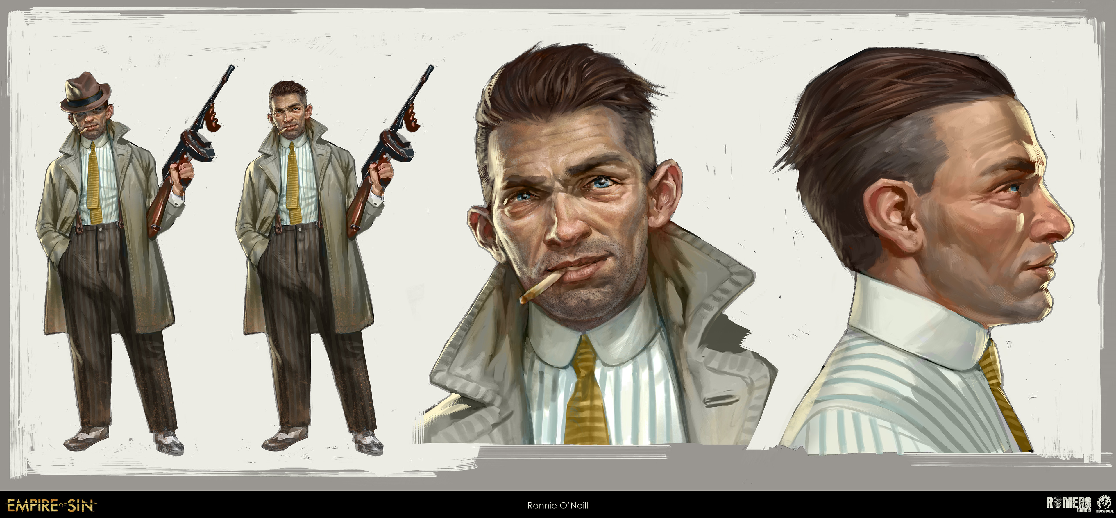 "Ronnie ""Little Boss"" O'Neill concept art. Irish-American boss of the Meatpackers gang."