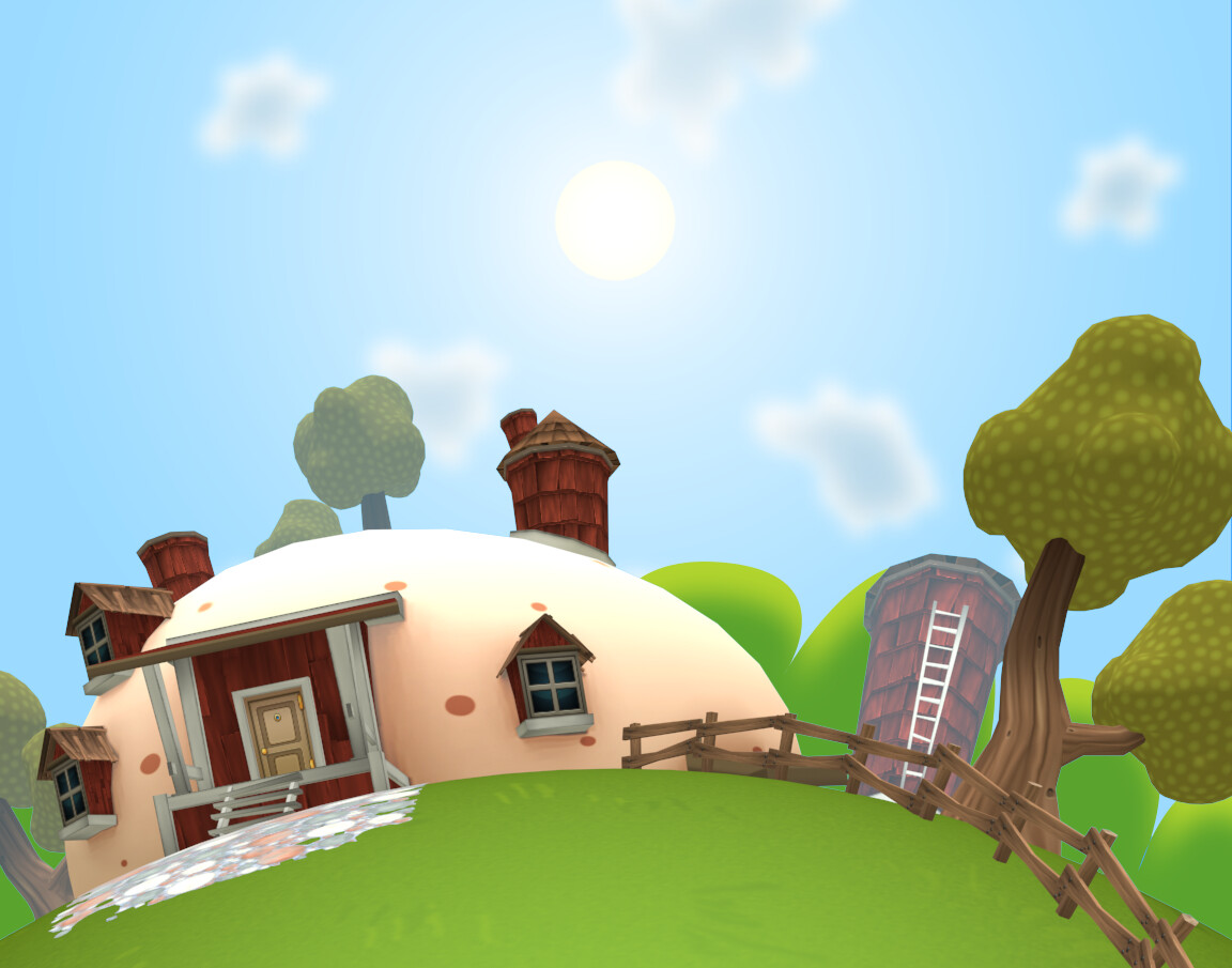 Stylised 3d background used throughout the demo.