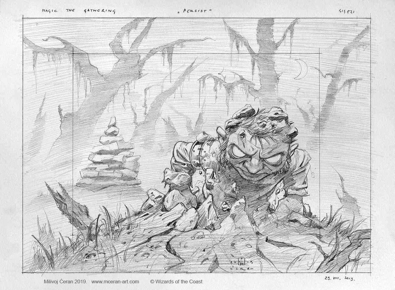 """- """"Persist"""" sketch, Milivoj Ćeran 2019. - a-3, size 29,7 x 42 cm (12x16 inches) - pencil on paper - © Wizards of the Coast - AD Cynthia Sheppard - """"Modern Horizons 2"""" set - private collection"""