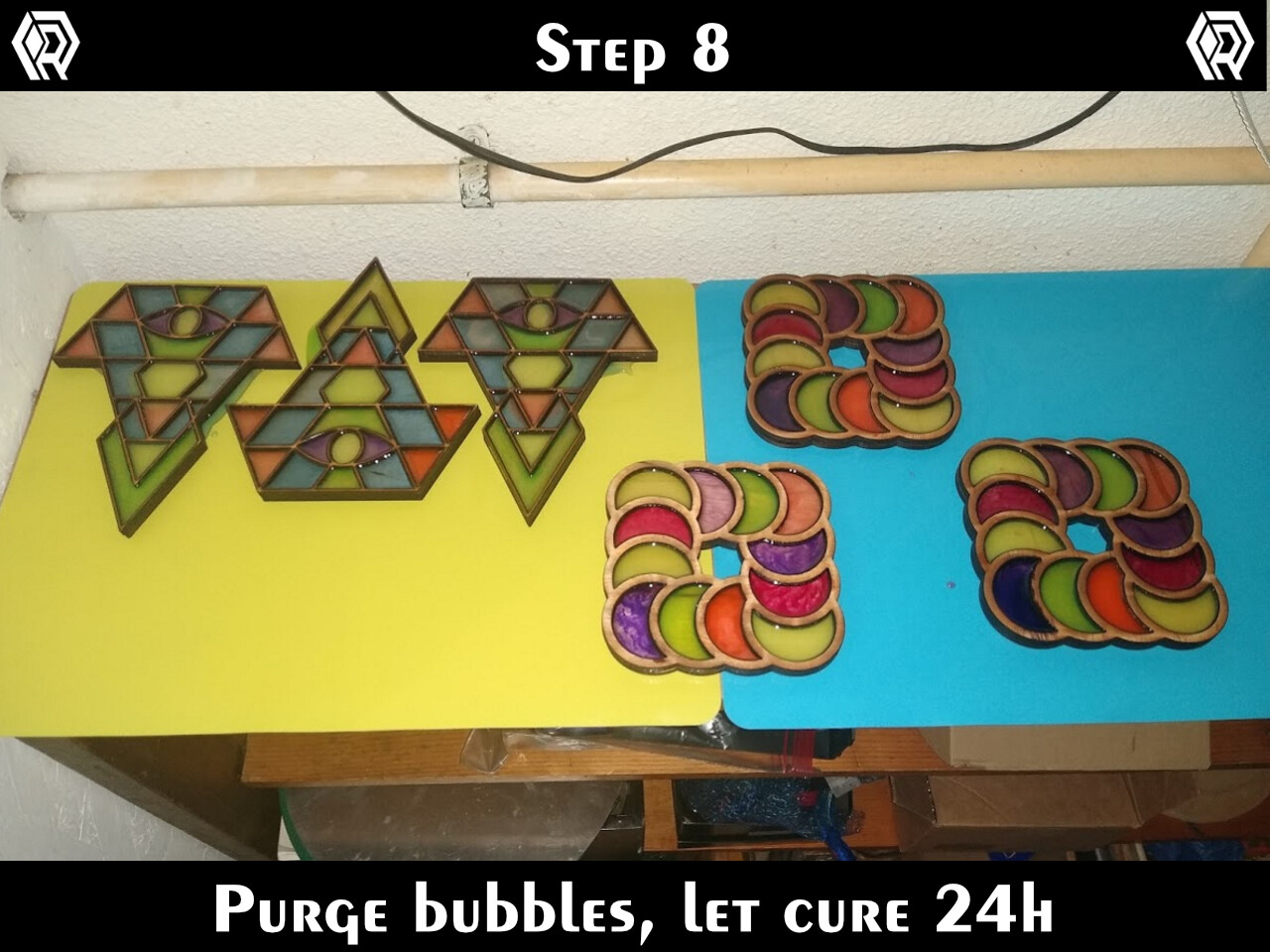 Use a heat gun to draw any bubbles to the top. Then let the pieces dry for 24h.