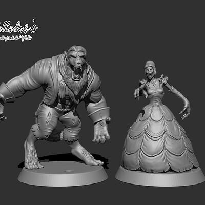 Galladur s 3d printed models beauty and beast