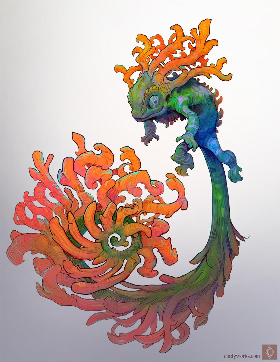 Coralito the Coraleon chameleon + coral