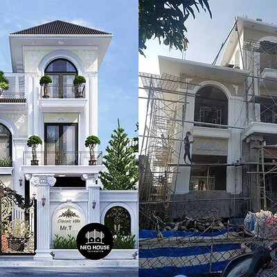 Neohouse architecture thi cong biet thu tan co dien 3 tang anh bia