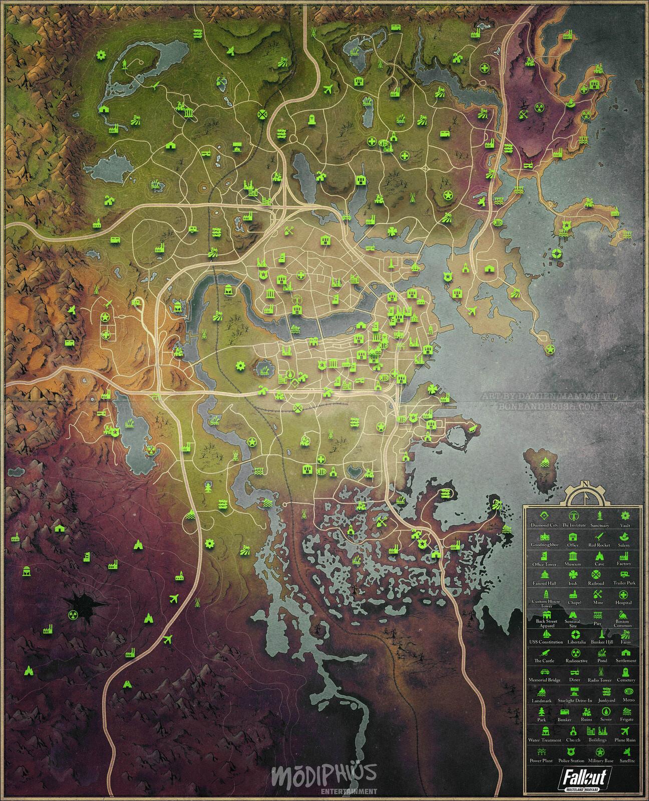 Stylized Fallout 4 World Map