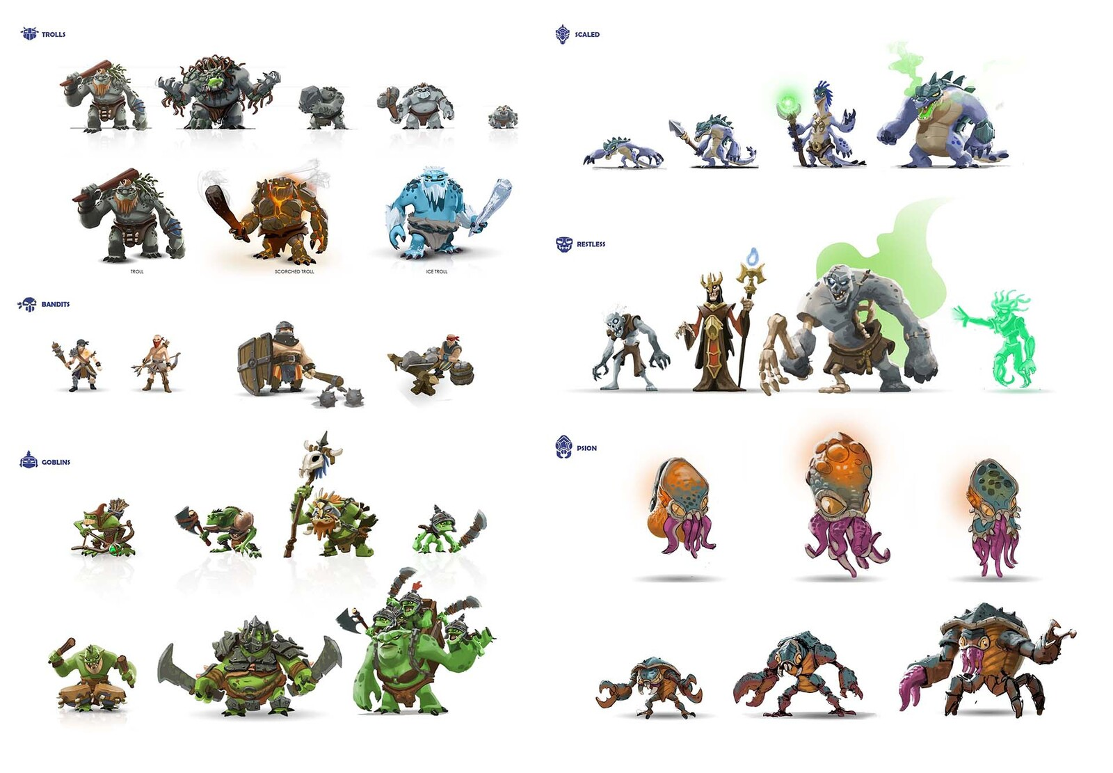 A selection of enemy design