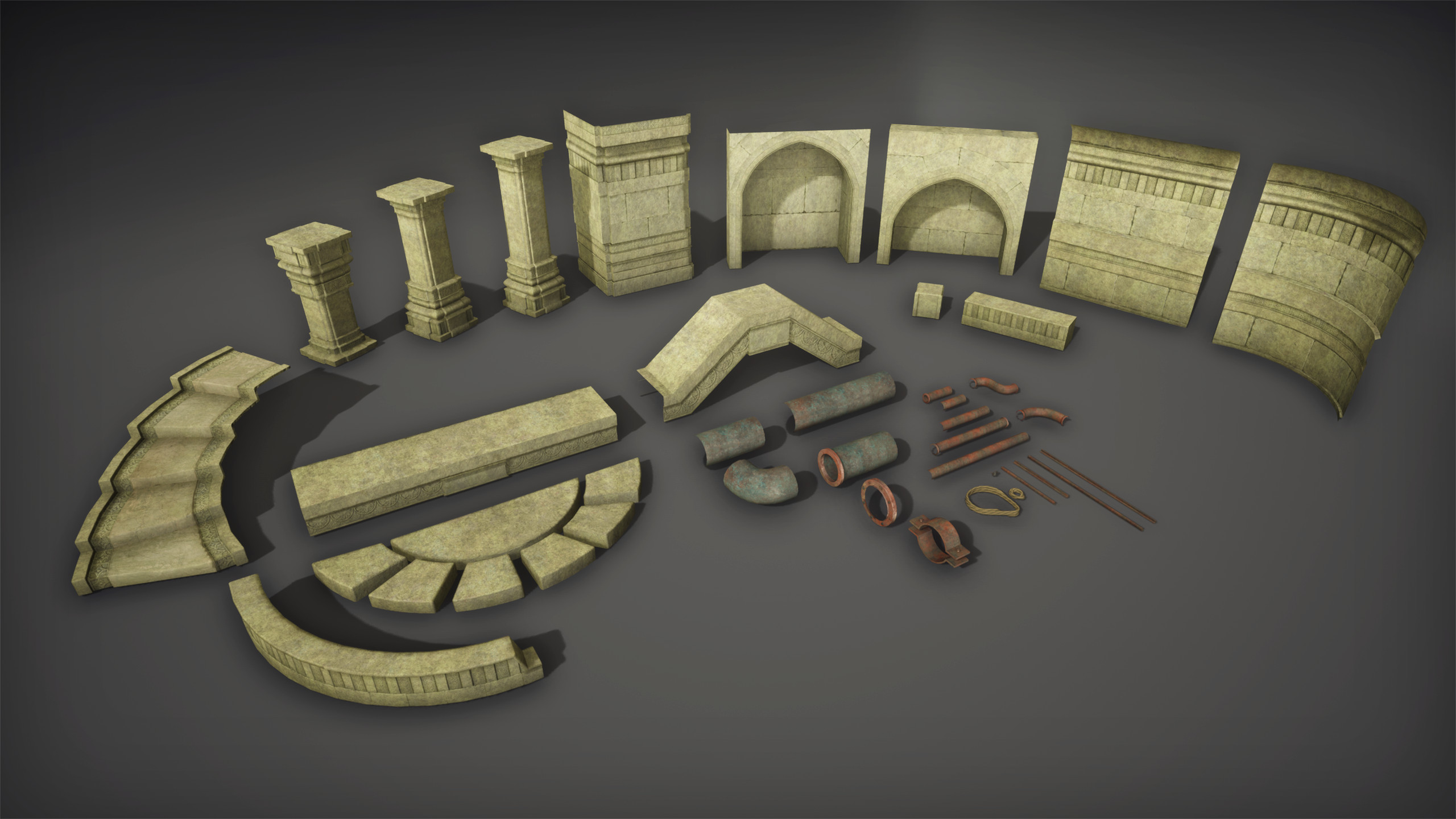 Modular assets, textured with trimsheets