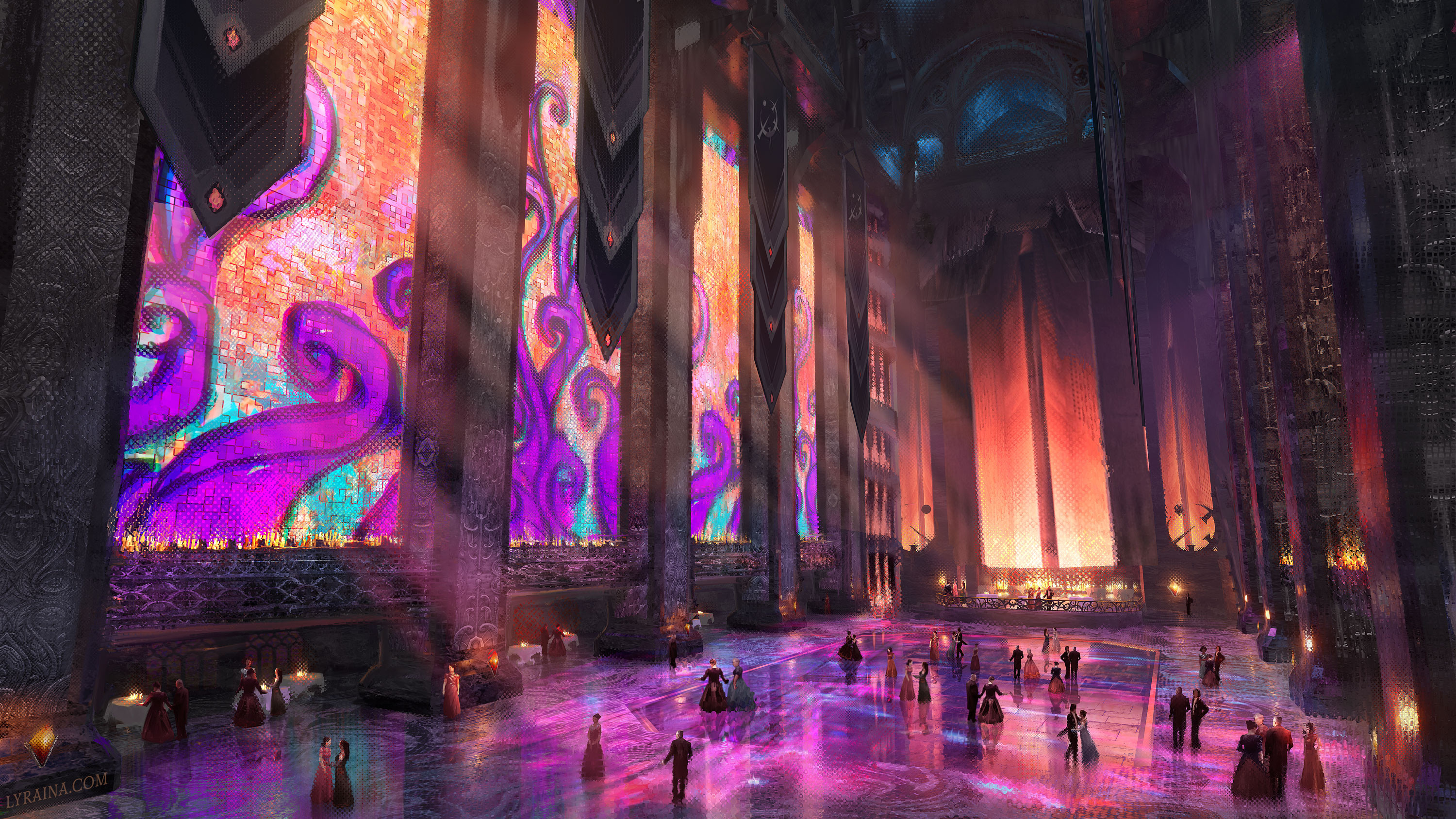 """""""Enormous, rectangular stained-glass windows ran in rows along the hall, and the strange, powerful lights outside shone on them directly, throwing a cascade of colors across the room."""""""