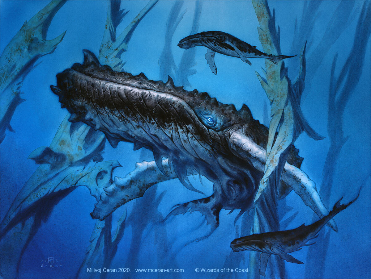 """- """"Steelfin Whale"""" Milivoj Ćeran 2019. - 46 x 61 cm (18,1 x 24 inches) - acrylic on paper (Fabriano 5, 300 gsm) - © Wizards of the Coast - AD Cynthia Sheppard - """"Modern Horizons 2"""" set - private collection"""