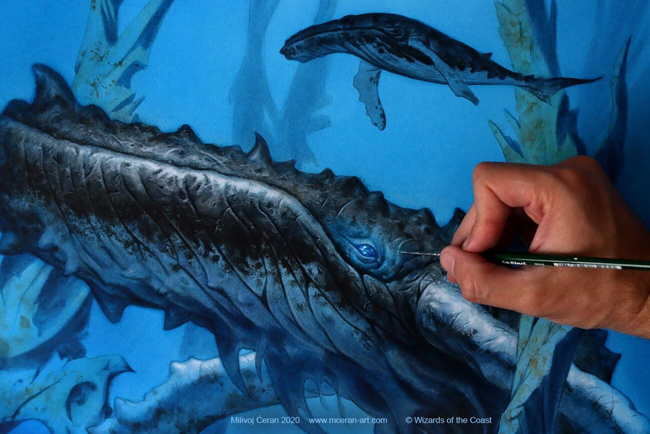 """""""Steelfin Whale"""" painting details 2020."""