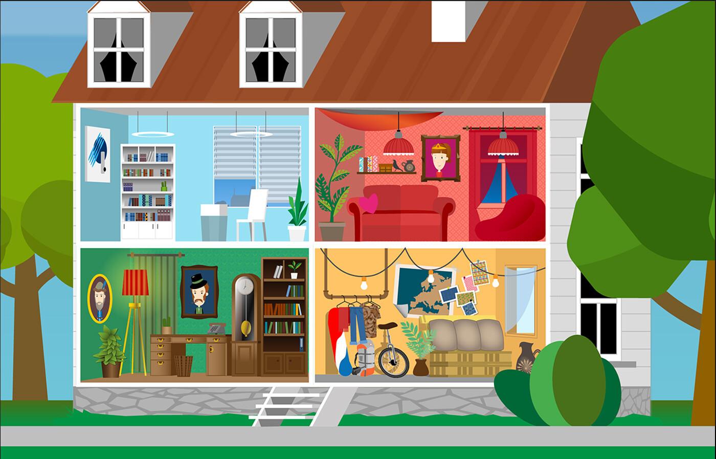Character Types - interior vector illustration