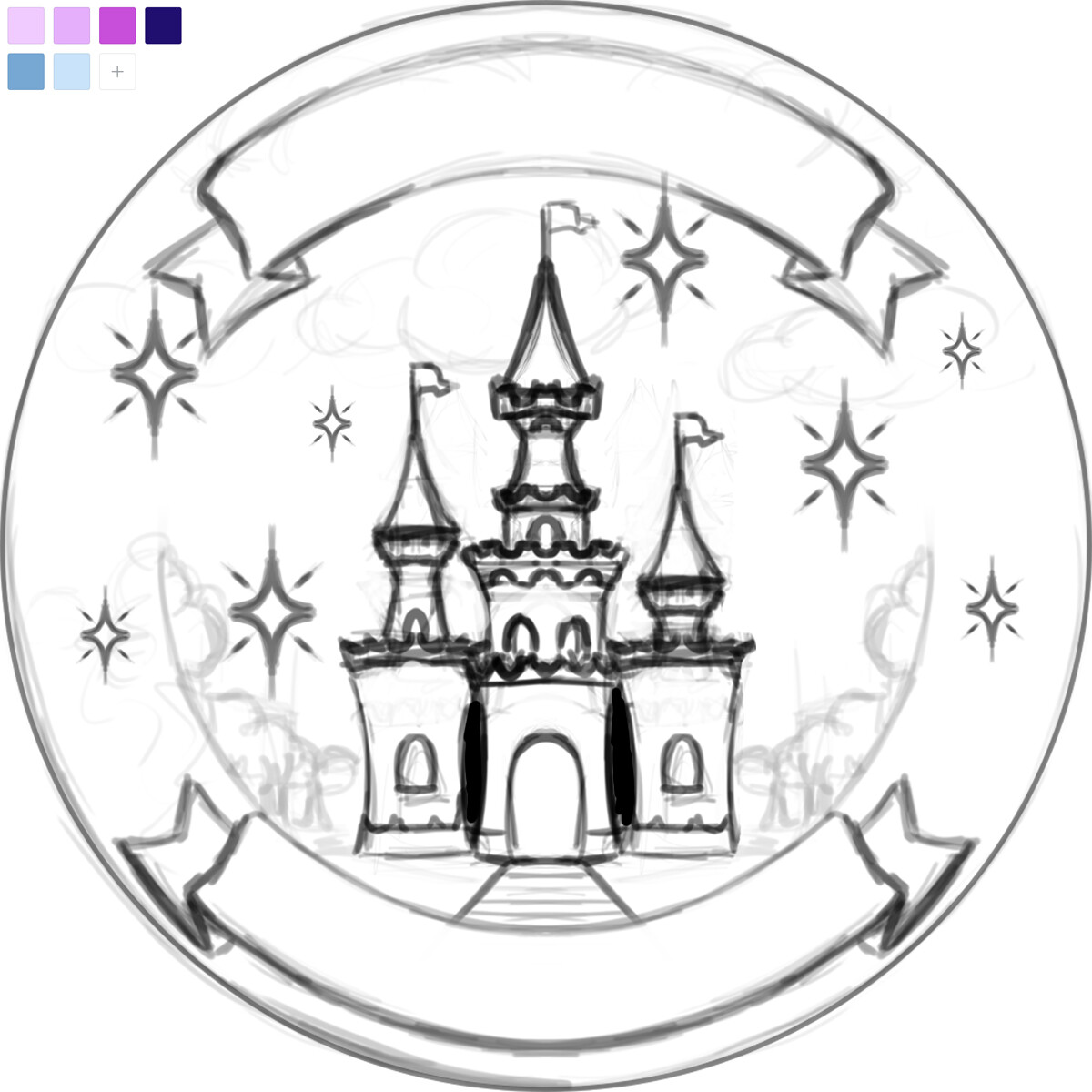 Creating Ever After sketch for the customer based on their description.