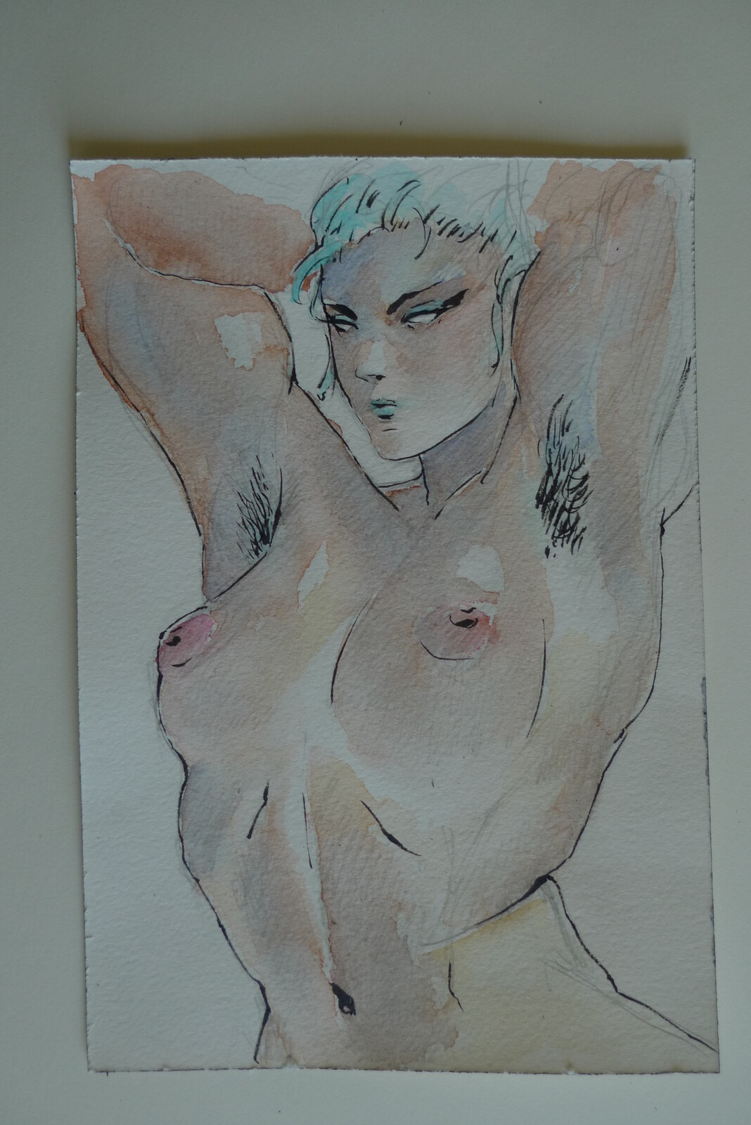 ink and watercolours sketch