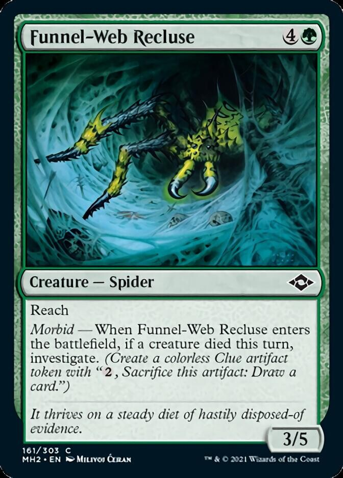 """- """"Funnel-Web Recluse"""" released card - AD Cynthia Sheppard - Magic the Gathering, """"Modern Horizons 2"""", release June 2021"""