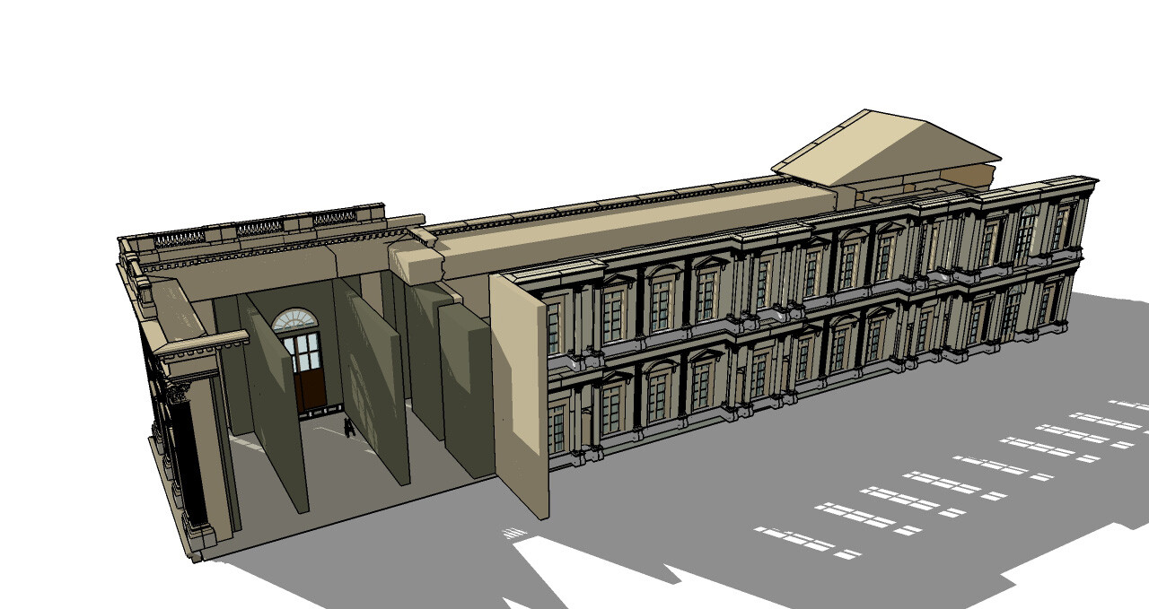 I created a partial reconstruction of that corner in Sketchup.