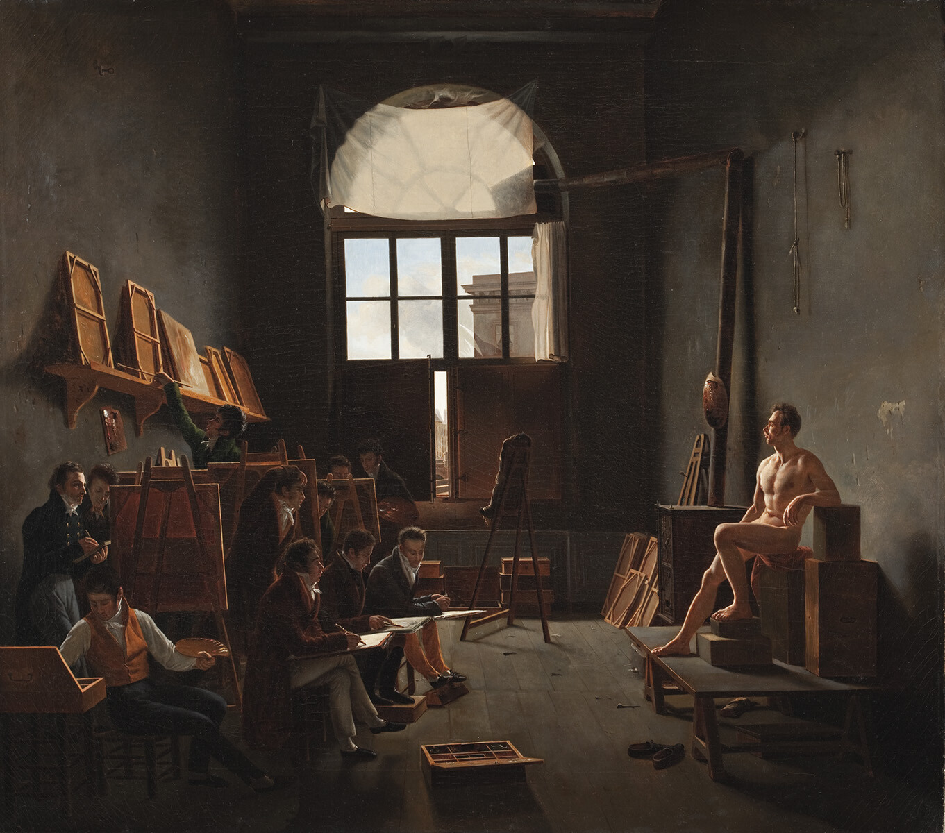 This painting depicts Jacques-Louis David's studio at the beginning of the 19th Century.  When King Louis the 14th moved the capitol of France to Versailles in 1682 the Louvre essentially became a residence for artists or the Royal Academy.