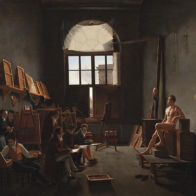 Drew lantrip 1814 cochereau leon mathieu interior of the studio of jacques louis david 900x1050mm