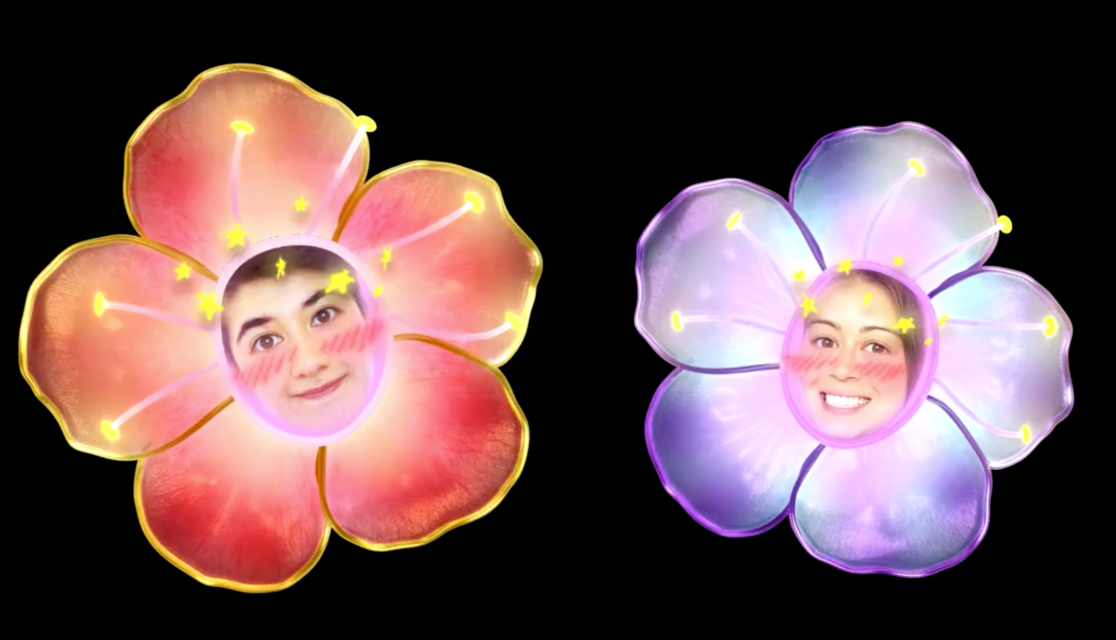 """Final Designs for the Flower """"hats"""" that the visitors would get to see themselves in , on the Osaka Castle Wall"""