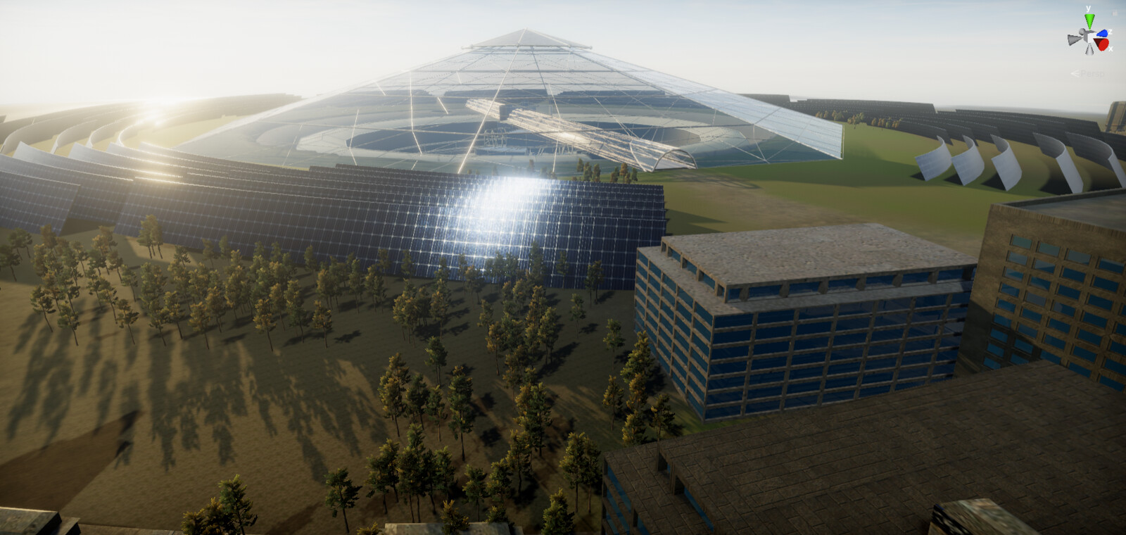 The dome structure over the mine surrounded by solar panels and a forest - Unity screenshot