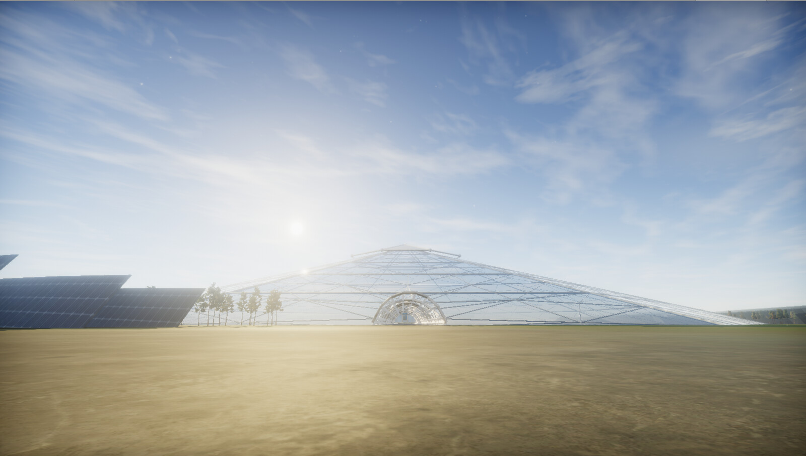 Perspective of the outside of the dome and entrance to the mine - Unity screenshot.