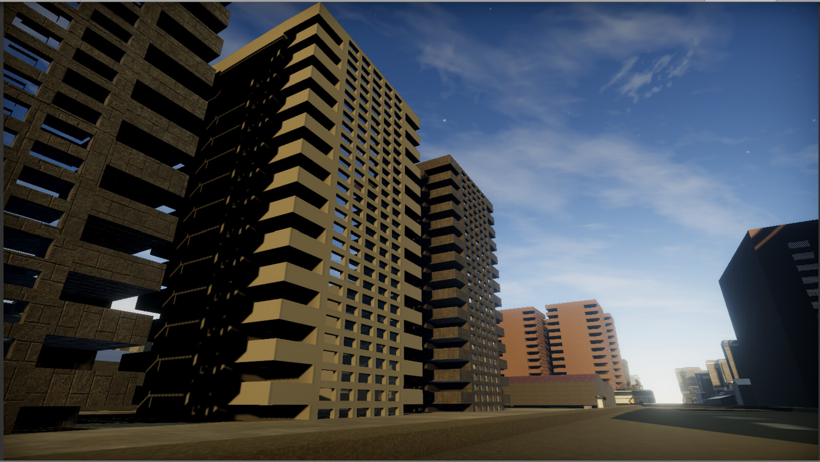 View from the streets of sme of the buildings in the city area -Unity screenshot.