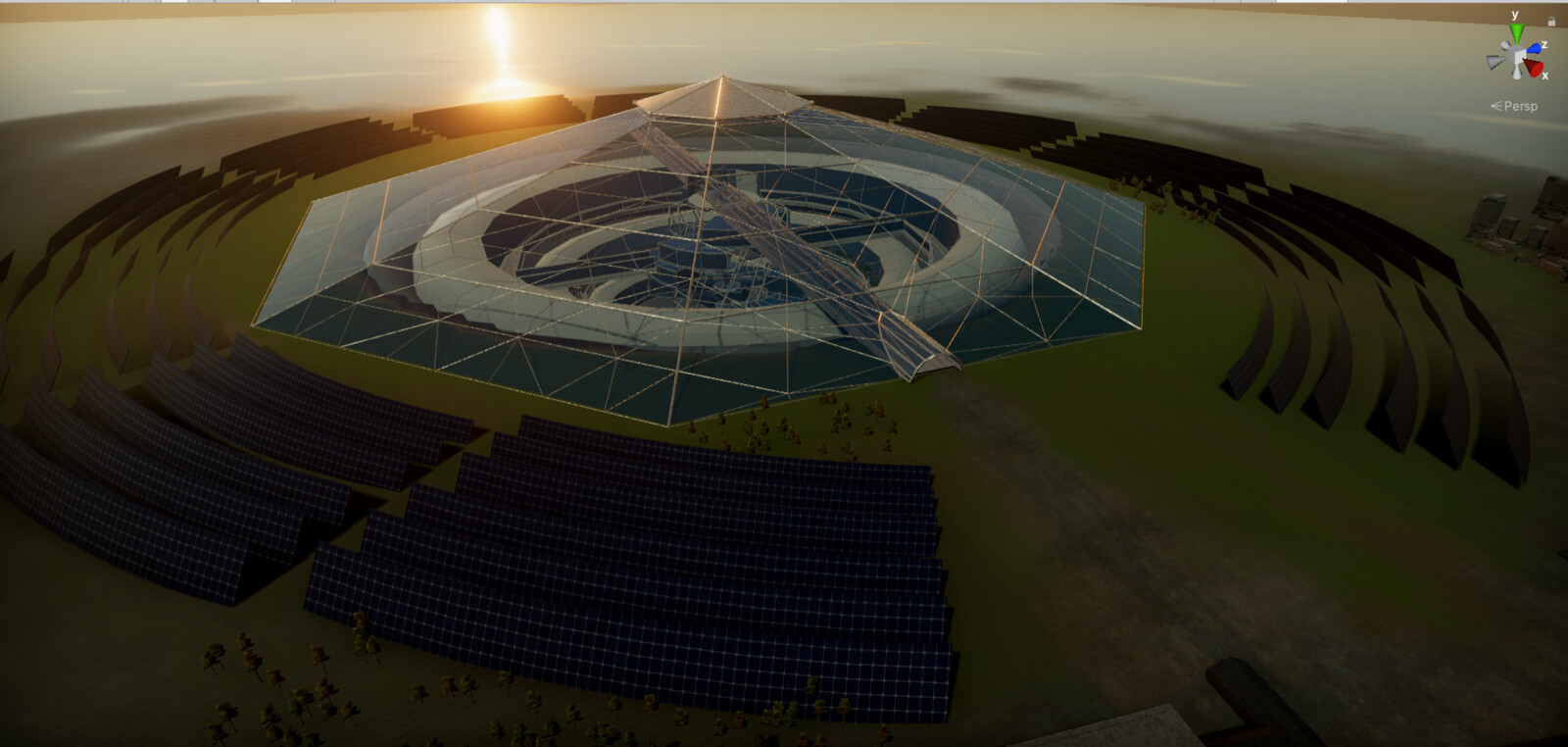 The dome and surrounding solar panels -Unity screenshot