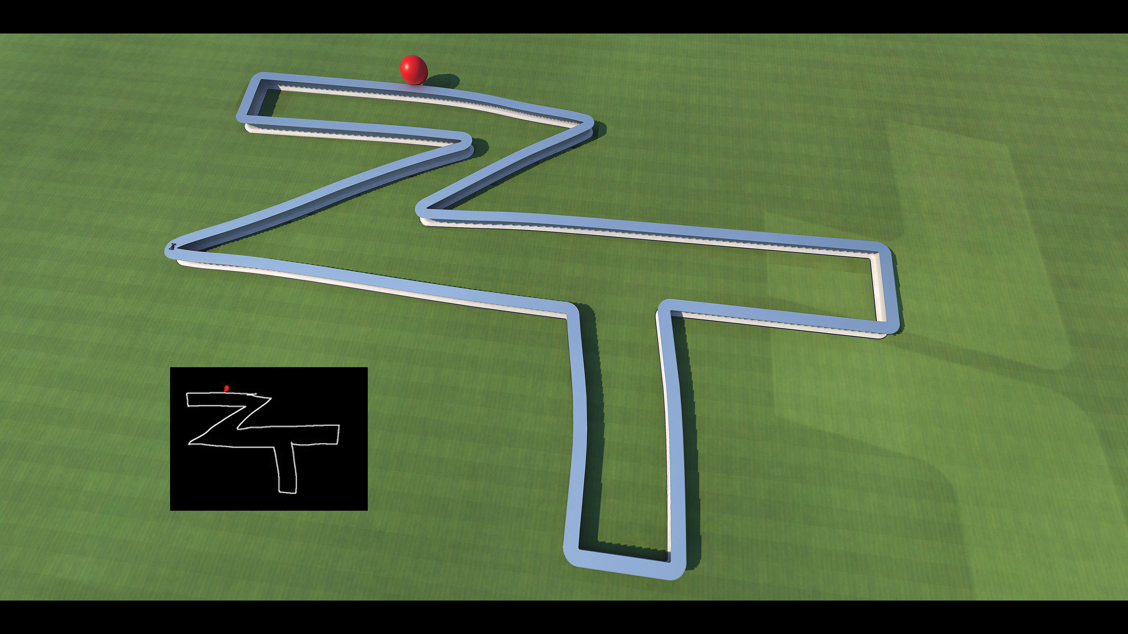 What's this ?  In black  : That is a drawing made by Zerator under MS-Paint [He was asking me to make his ZT Logo as a circuit and the red dot was showing where the car could drive]. We decided to make a joke and do exactly his drawing.