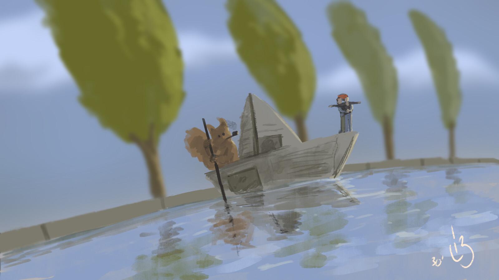 "Speedpaint ""Squirrel boatman & tiny humans"""