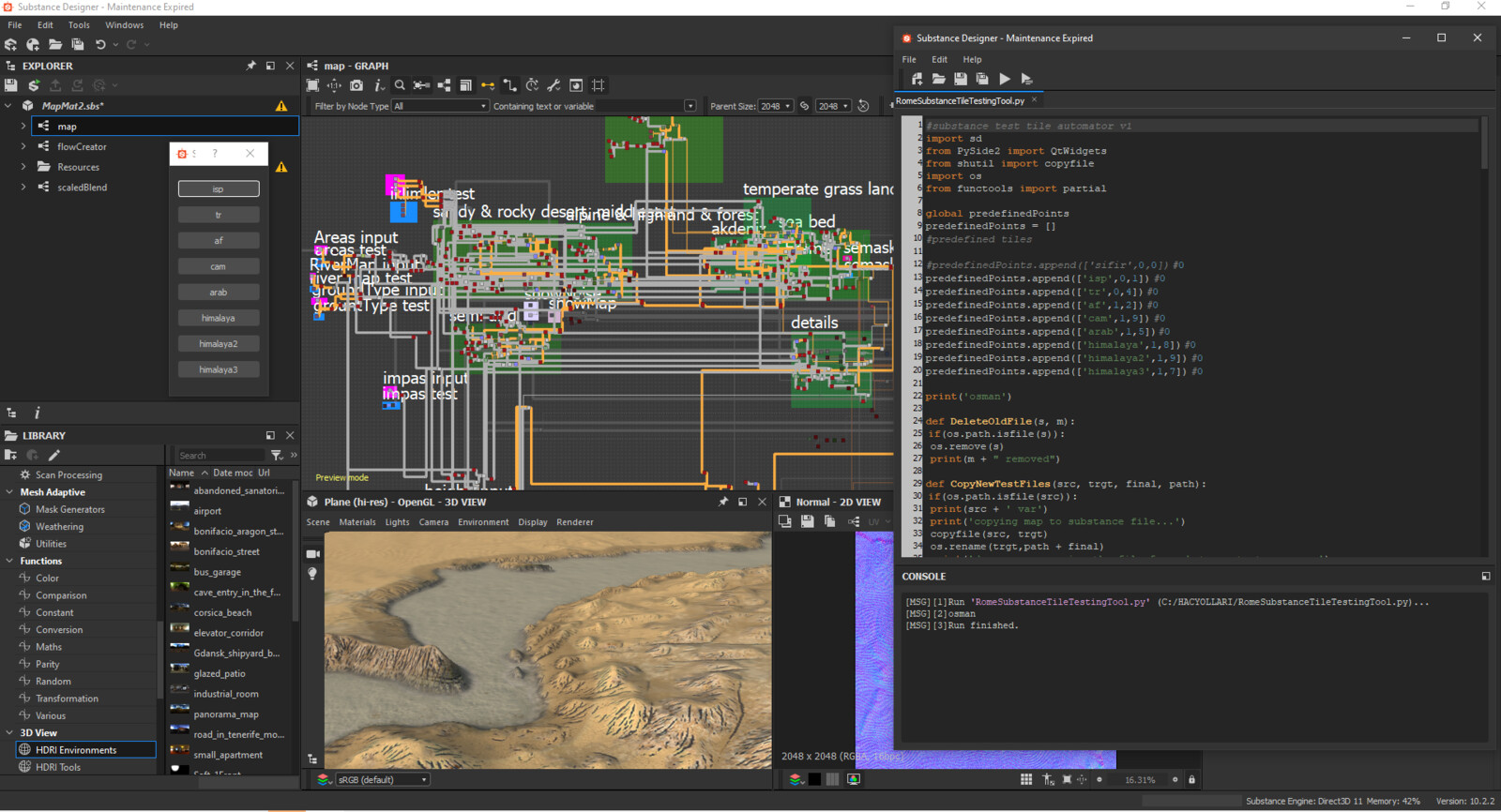 The most difficult part of the project was rendering 8k textures in the Substance designer for  over 100 grids on the game map. Of course, This had to be automated. Kıvanc Cubukcu developed an amazing system that does this in Substance's python language.