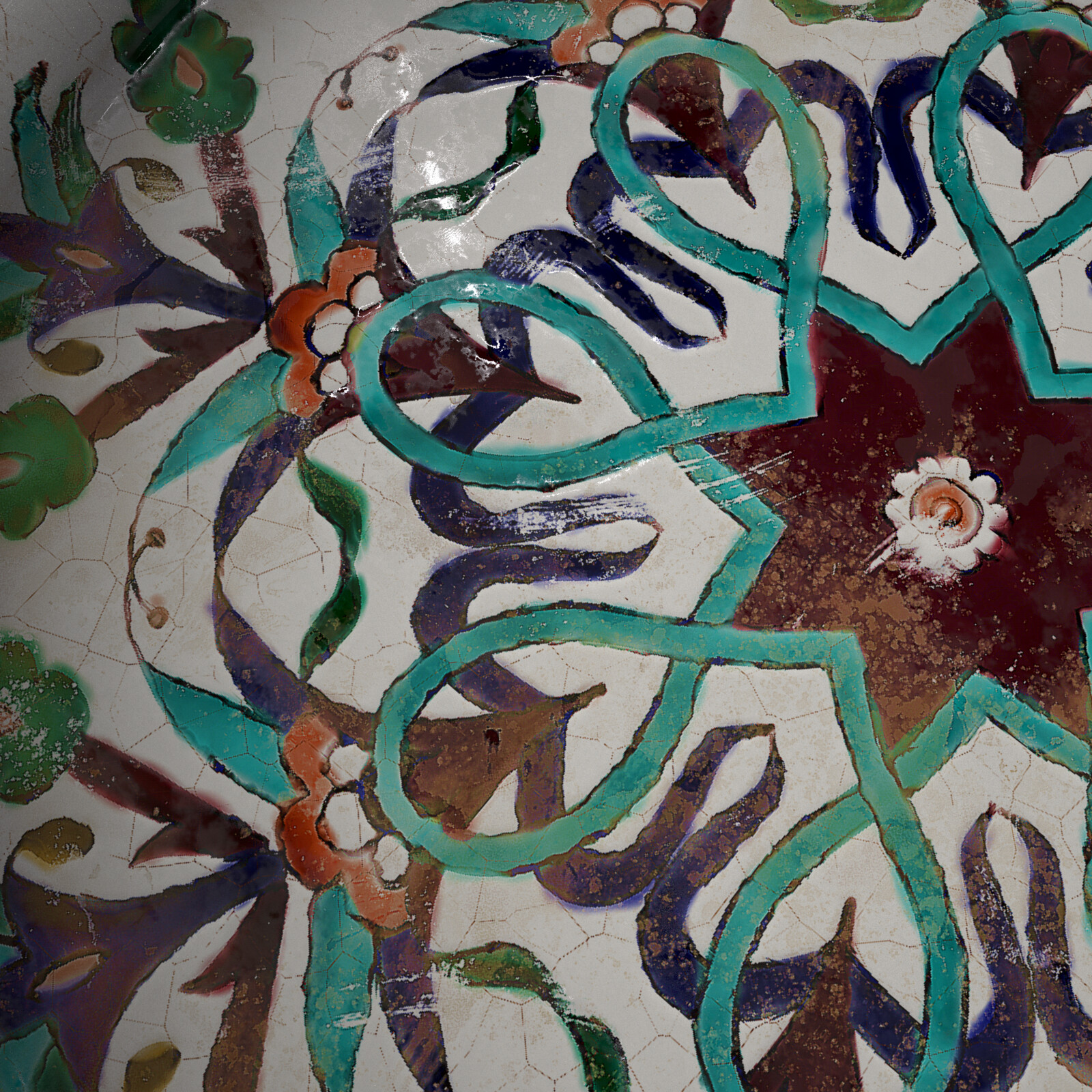 Detail from 18th-century Ceramic Tile Plate, high painting defects, natural color palette  (iRay render)