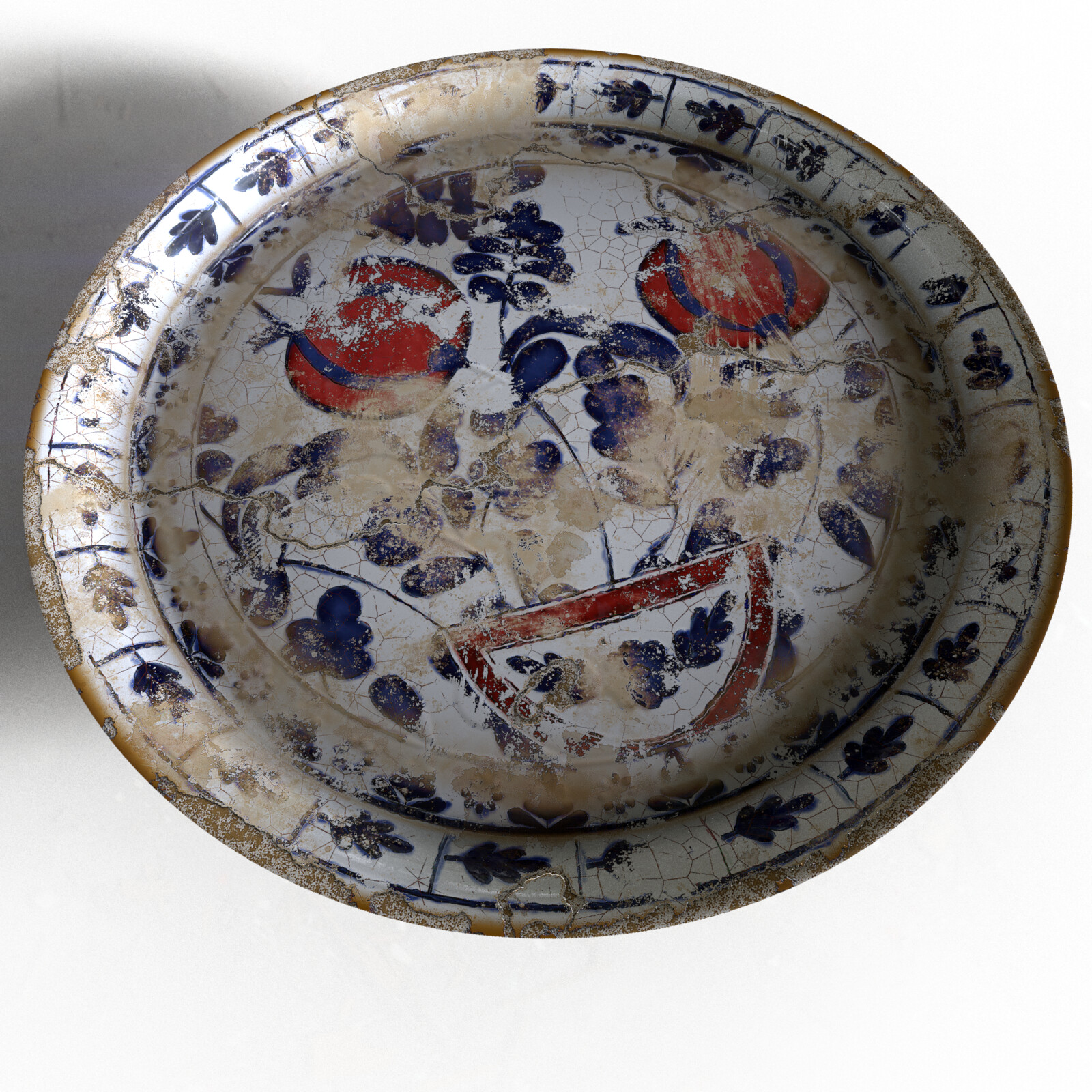 19th-century Ceramic Tile Plate, in bad condition, iRay render