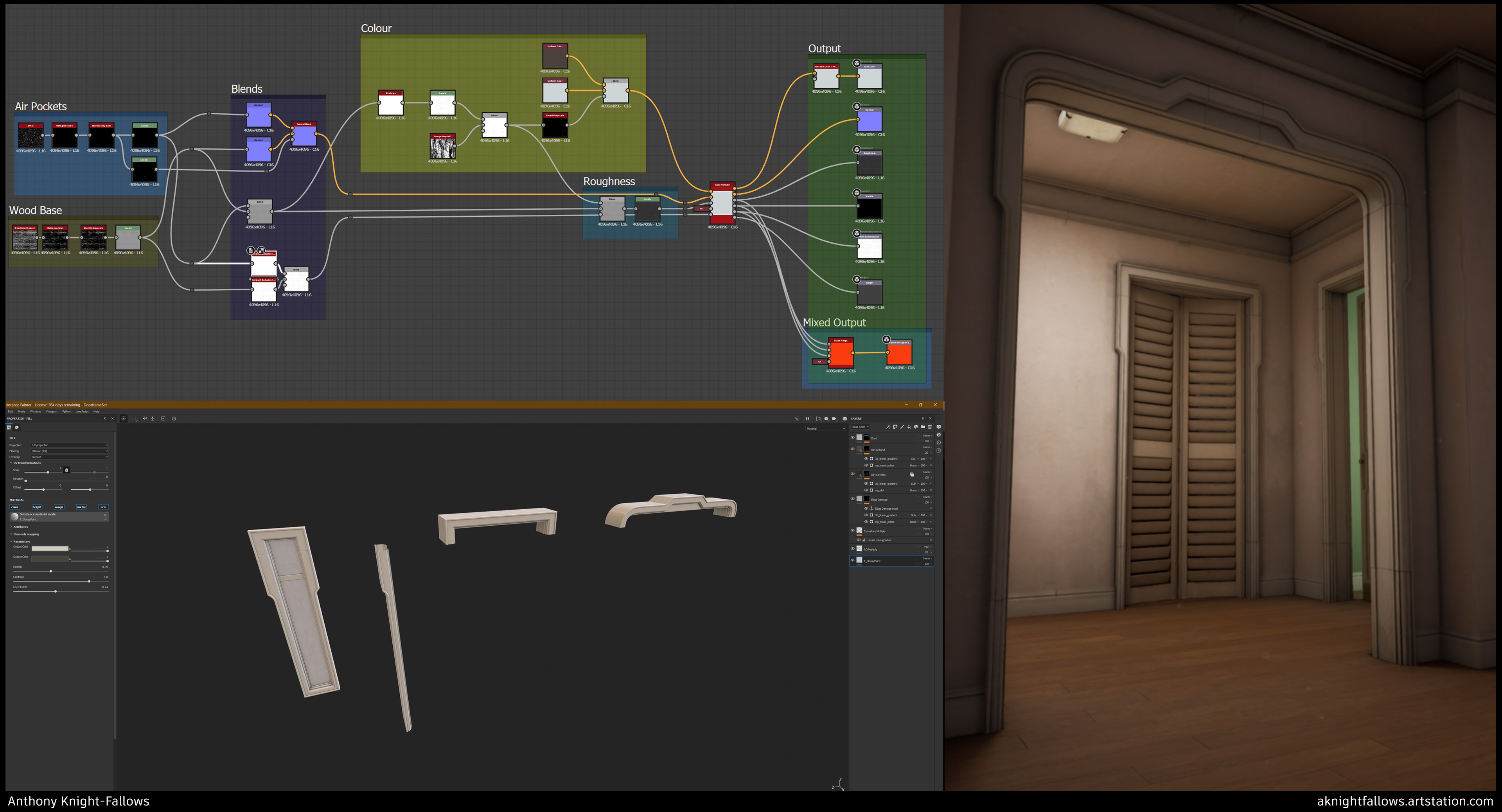 Minor textures such as the Glossy Paint: made in Designer w/ exposed parameters for use in Painter on assets.