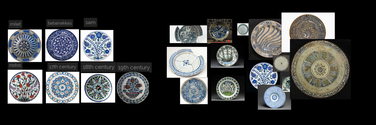 First of all, I collected the references photos of all periods in project and cracks, dirts,  aging and weathering on porcelain tile plates