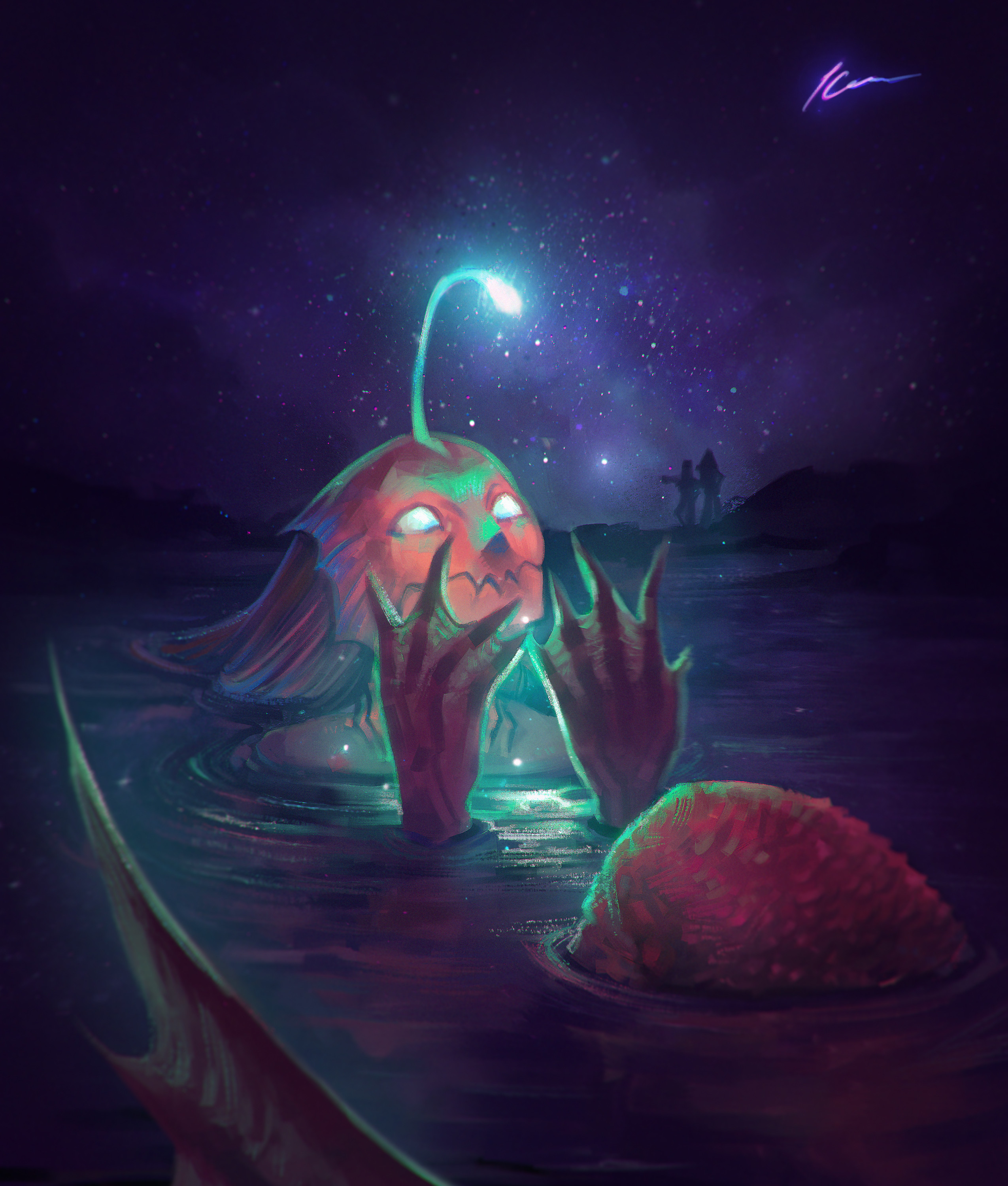 Guiding Light - An angler fish mermaid realizes she has been carrying her own star
