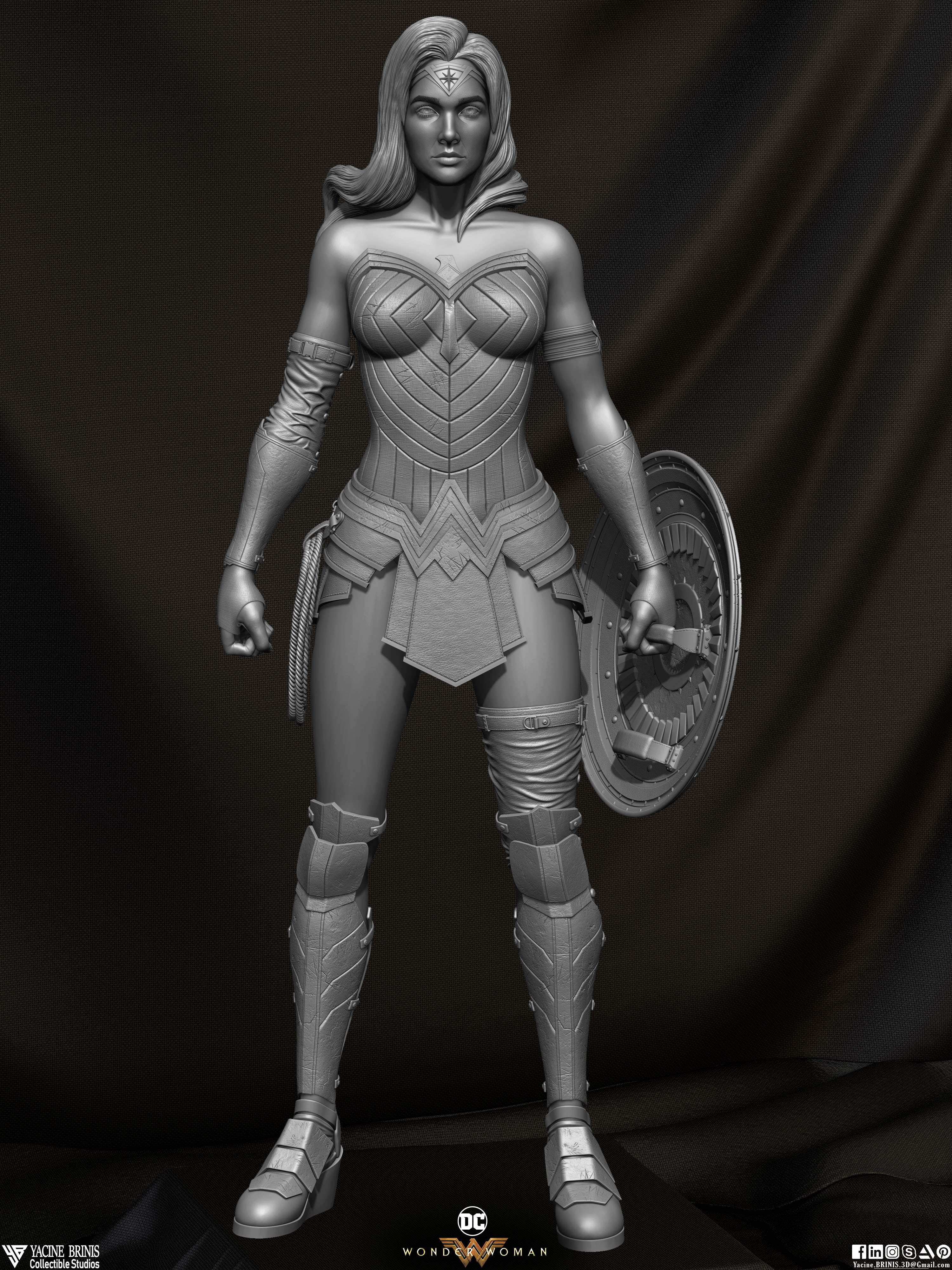Wonder Woman ZBrush Version, Personal Project (Sculpted By Yacine BRINIS) Set 02