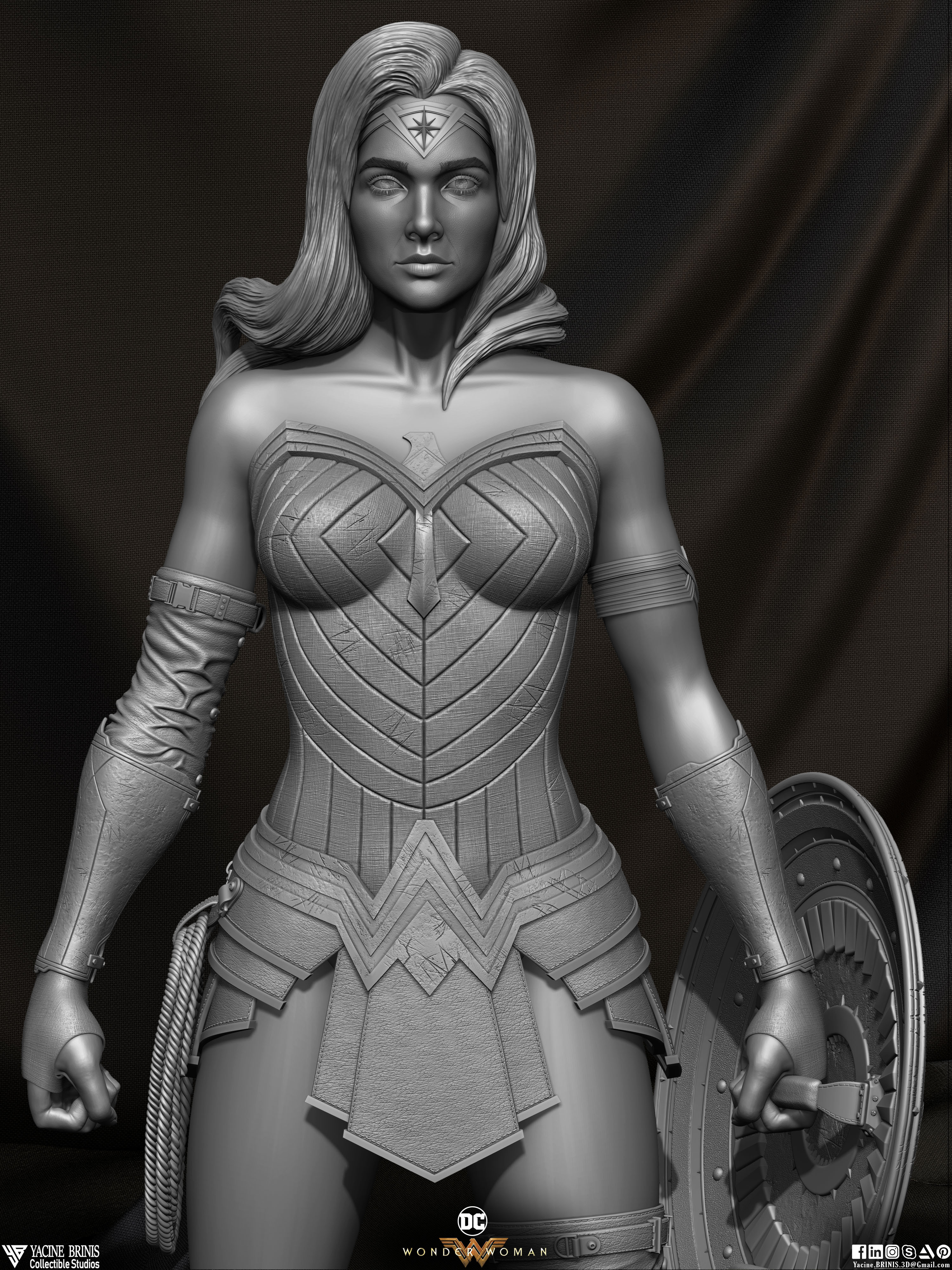 Wonder Woman ZBrush Version, Personal Project (Sculpted By Yacine BRINIS) Set 03